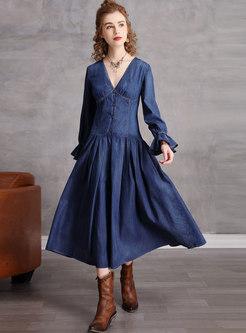 V-neck Flare Sleeve A Line Denim Midi Dress
