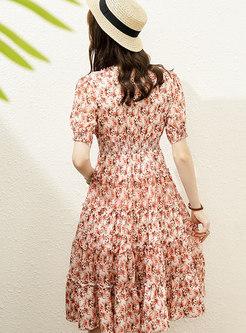 Short Sleeve High Waisted Floral Skater Dress