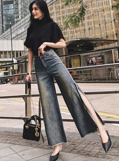 Retro High Waisted Split Rough Selvedge Jeans
