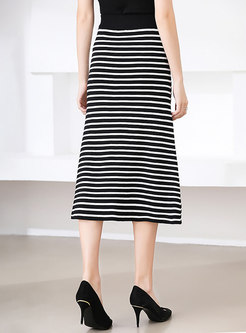 High Waisted Striped Split Knitted Midi Skirt