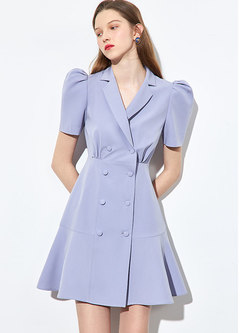 Lapel Puff Sleeve A Line Blazer Dress