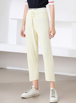 Brief Solid High Waisted Straight Pants