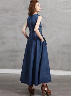 V-neck Sleeveless Woven Fringe Denim Maxi Dress