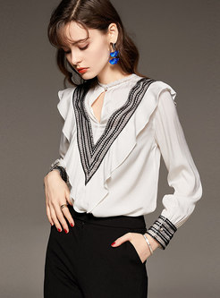 Long Sleeve Embroidered Ruffle Pullover Blouse