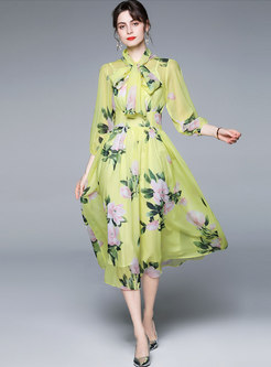 Boho Bowknot Ribbon Print Beach Maxi Dress