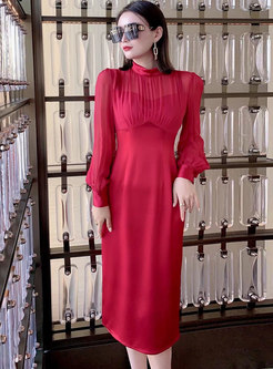 Mock Neck Long Sleeve Satin Patchwork Midi Dress