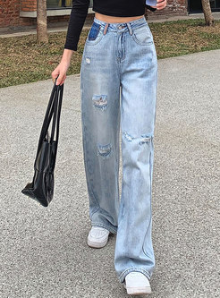 High Waisted Wide Leg Ripped Jeans