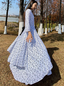 V-neck 3/4 Sleeve Print Big Hem Maxi Dress