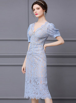 Sexy V-neck Puff Sleeve Lace Cocktail Dress