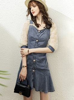 Cute V-neck Mesh Patchwork Denim Mini Dress