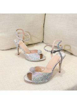 Peep Toe Rhinestone Ankle Strap High Heel Sandals