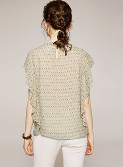 Ruffle Sleeve Pullover Print Loose Blouse