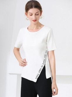 White Short Sleeve Letter Embroidered Knit Top
