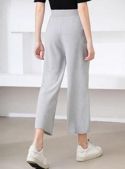 Casual Elasticated Waist Wide Leg Pants