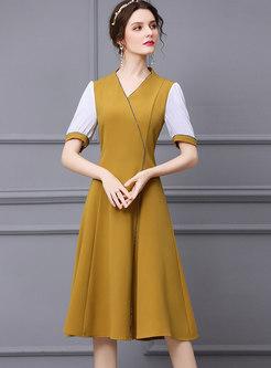 Yellow V-neck Patchwork A Line Knee-length Dress
