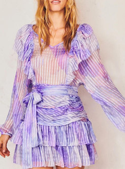 Lantern Sleeve Tie-dye Ruffle Tiered Mini Dress