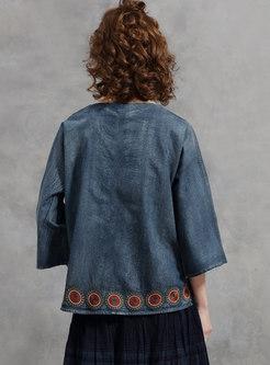 Retro Blue V-neck Embroidered Denim Blouse