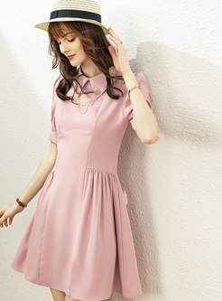 Turn-down Collar Ruched A Line Mini Dress