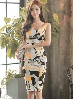 Square Neck Sleeveless Print Bodycon Dress