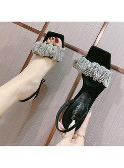 Rhinestone Square Toe High Heel Summer Sandals