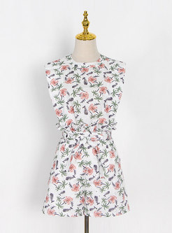 Print Sleeveless Lettuce High Waisted Hot Pant Suits