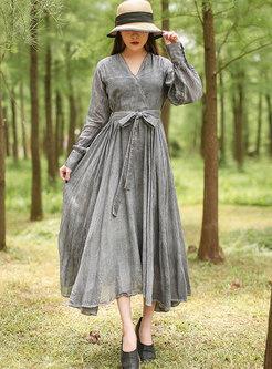 Long Sleeve A Line Big Hem Linen Dress
