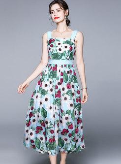 Boho Print Sleeveless Empire Waist Maxi Sundress