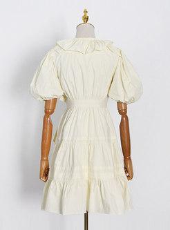 V-neck Puff Sleeve Ruffle Skater Mini Dress