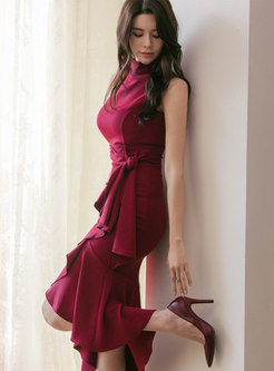 Mock Neck Ruffle Asymmetric Sheath Peplum Dress