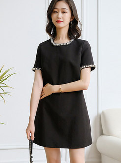 Black Beaded Short Sleeve A Line Mini Dress