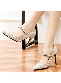 Pointed Toe Pearl Ankle Strap Party Heels