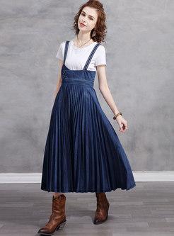 Blue High Waisted A Line Pleated Maxi Skirt