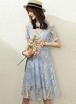 Sweet Transparent Lace A Line Knee-length Dress