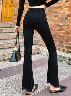 Black High Waisted Rough Selvedge Flare Jeans
