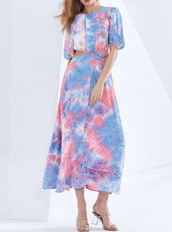 Boho Color-blocked Half Sleeve Openwork Maxi Dress
