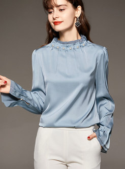 Mock Neck Long Sleeve Beaded Satin Silk Blouse