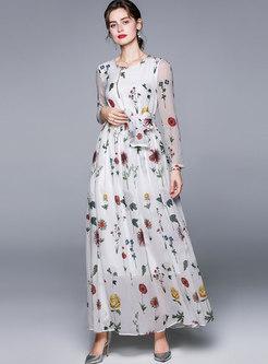 White Print Big Hem Chiffon Beach Maxi Dress