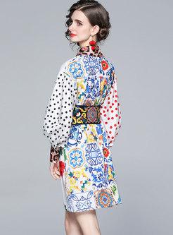 Polka Dot Print Empire Waist Shirt Dress