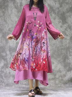 Retro Print Plus Size Patchwork Shift Maxi Dress