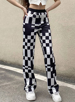 Casual High Waisted Plaid Straight Pants