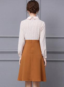 Long Sleeve Patchwork High Waisted Skater Dress