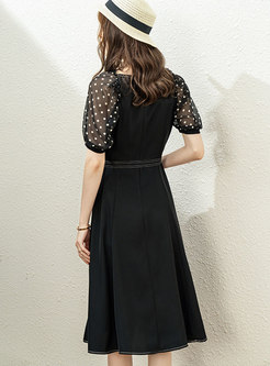 Black Polka Dot High Waisted A Line Midi Dress