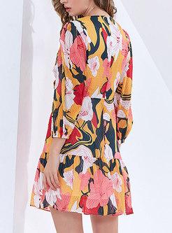 Boho V-neck Lantern Sleeve Print Mini Skater Dress