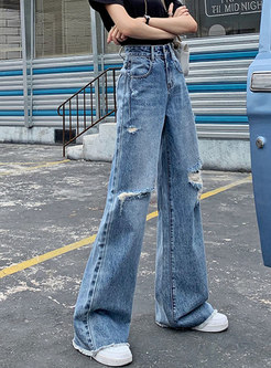 High Waisted Rough Selvedge Wide Leg Ripped Jeans