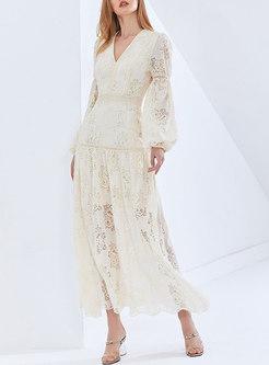 V-neck Lantern Sleeve Openwork Lace Maxi Dress