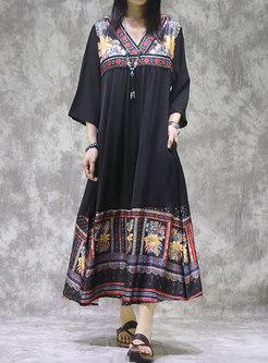 Ethnic Plus Size Print Patchwork Shift Maxi Dress