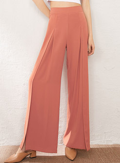 High Waisted Split Chiffon Palazzo Pants