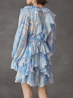 Long Sleeve Chiffon Print Layer Dress