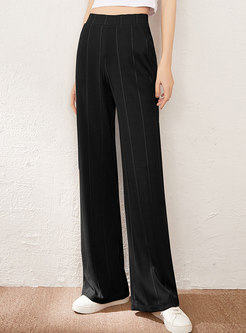Casual High Waisted Ribbed Wide Leg Pants