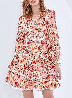 V-neck Floral Openwork Skater Mini Dress